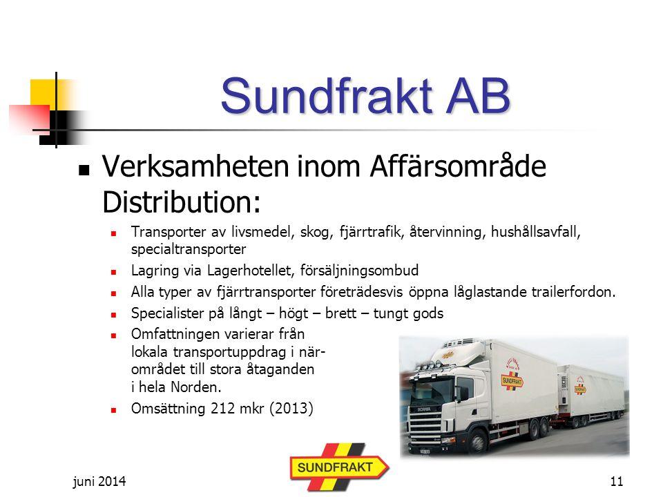 Sundfrakt AB Verksamheten inom Affärsområde Distribution: