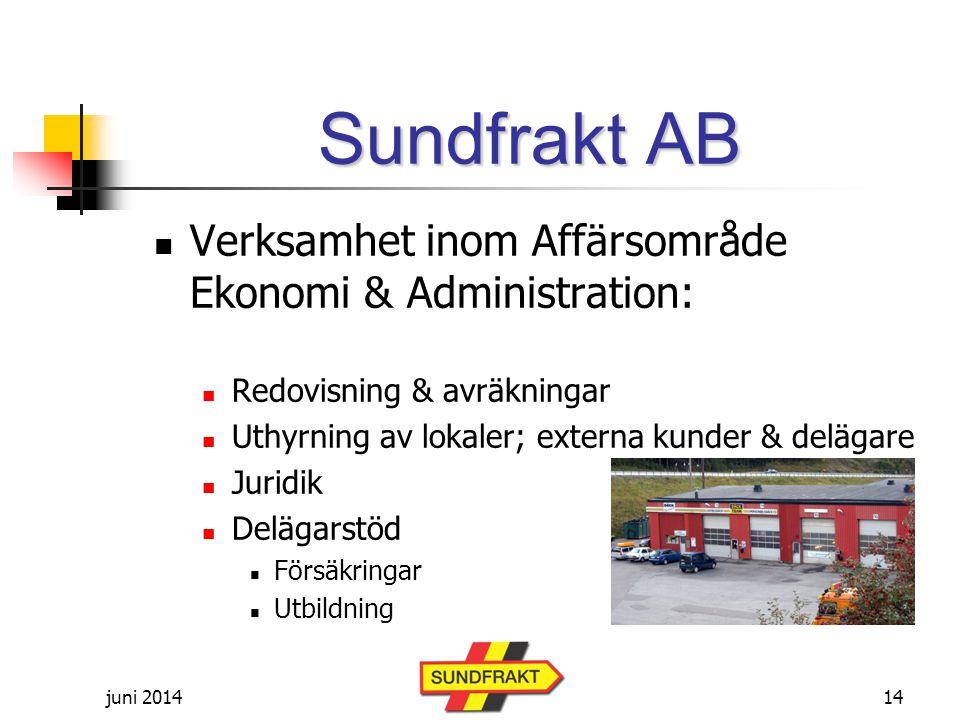 Sundfrakt AB Verksamhet inom Affärsområde Ekonomi & Administration: