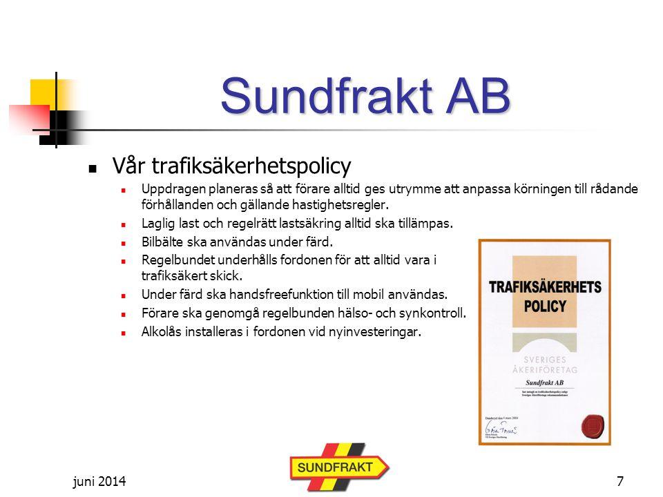 Sundfrakt AB Vår trafiksäkerhetspolicy