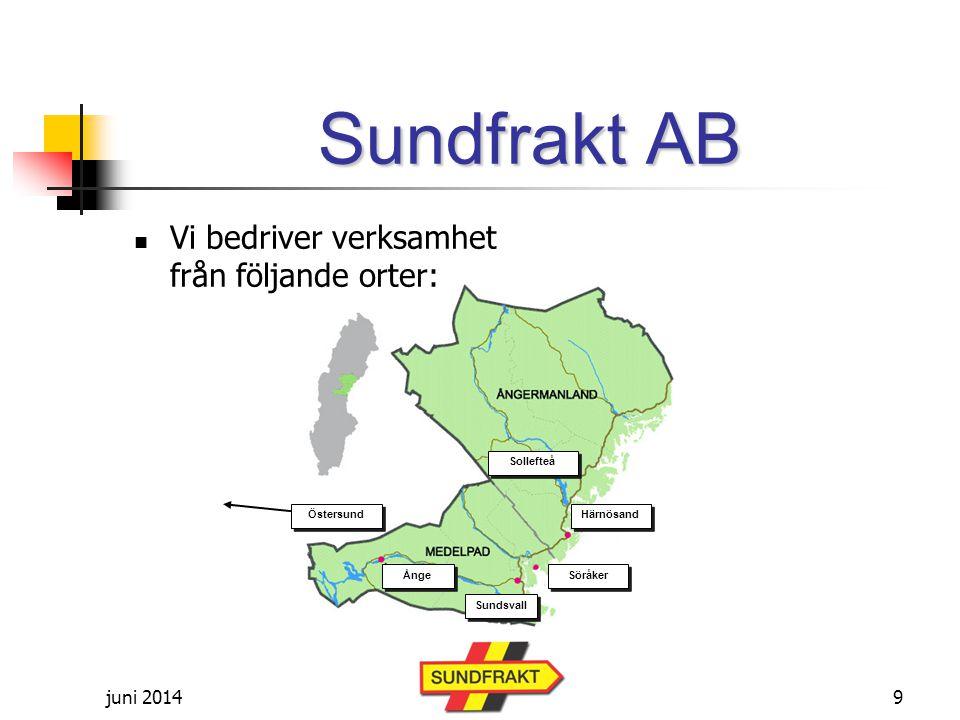 Sundfrakt AB Vi bedriver verksamhet från följande orter: april 2017