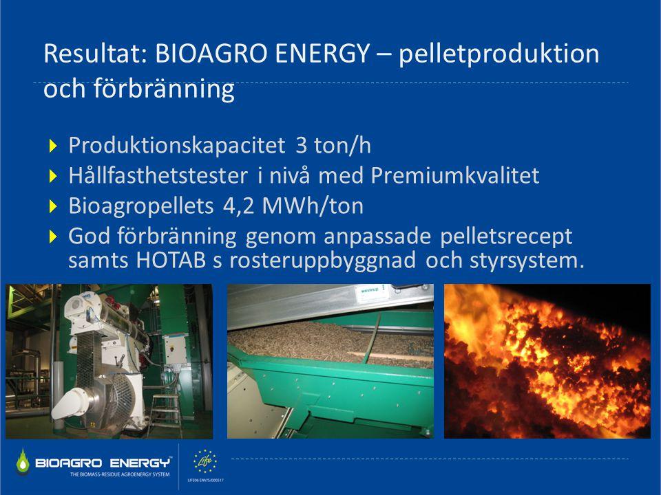 Resultat: BIOAGRO ENERGY – pelletproduktion och förbränning