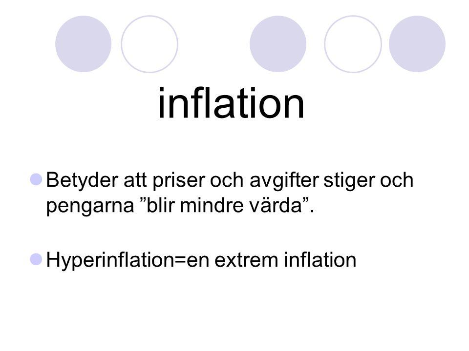 inflation Betyder att priser och avgifter stiger och pengarna blir mindre värda .
