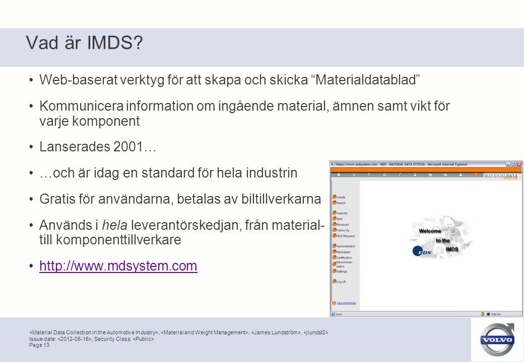 Vad är IMDS Web-baserat verktyg för att skapa och skicka Materialdatablad