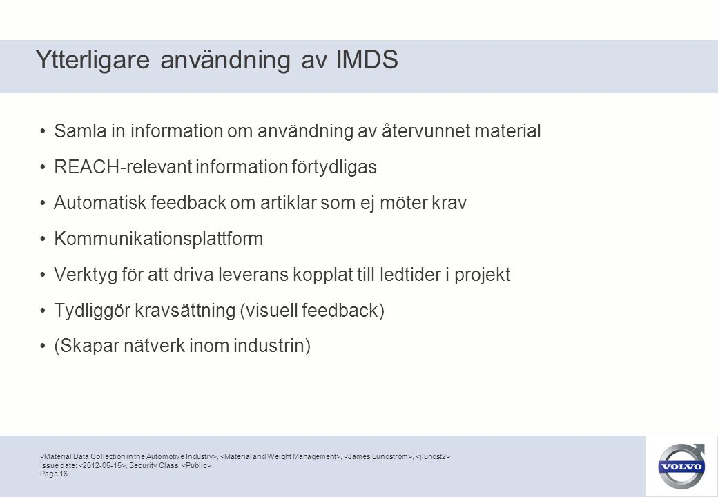 Ytterligare användning av IMDS