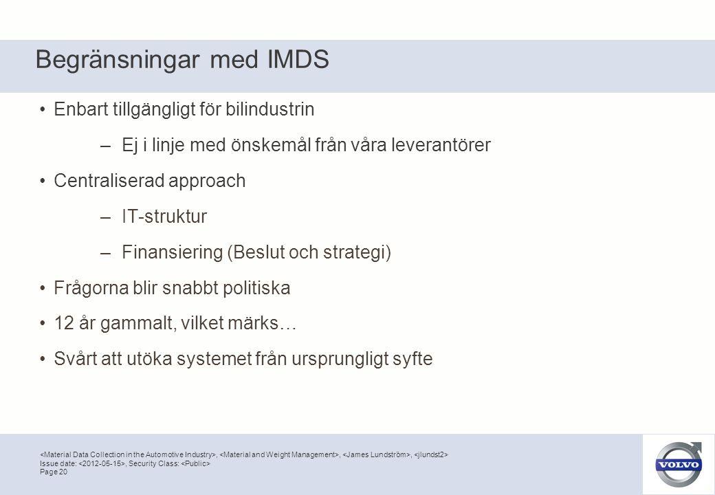 Begränsningar med IMDS