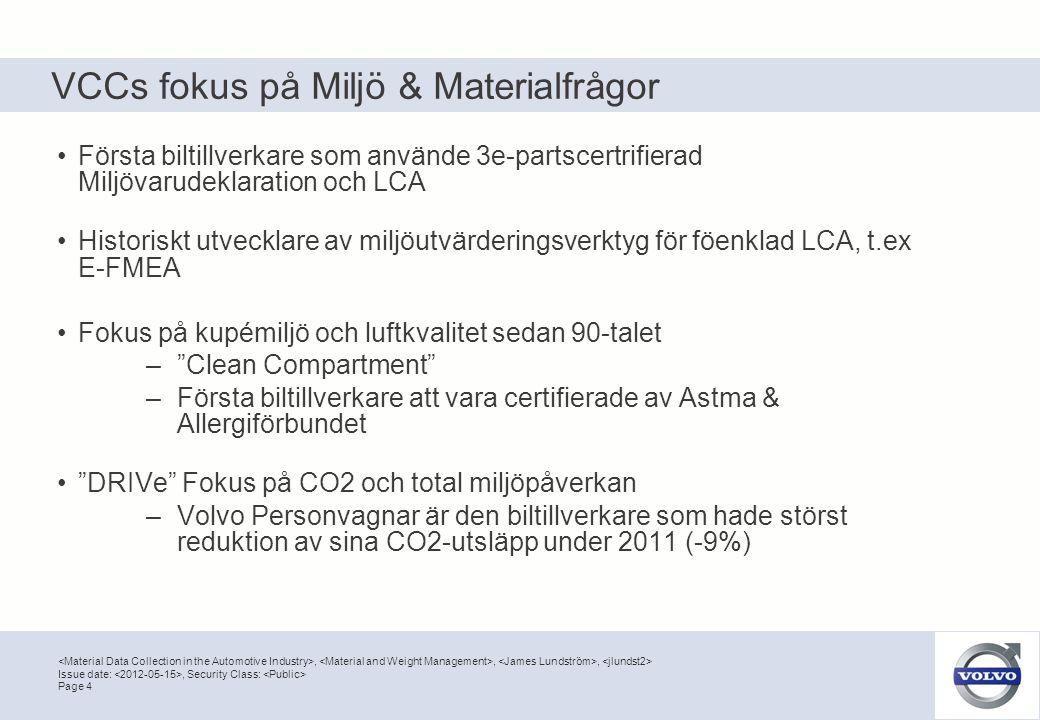 VCCs fokus på Miljö & Materialfrågor