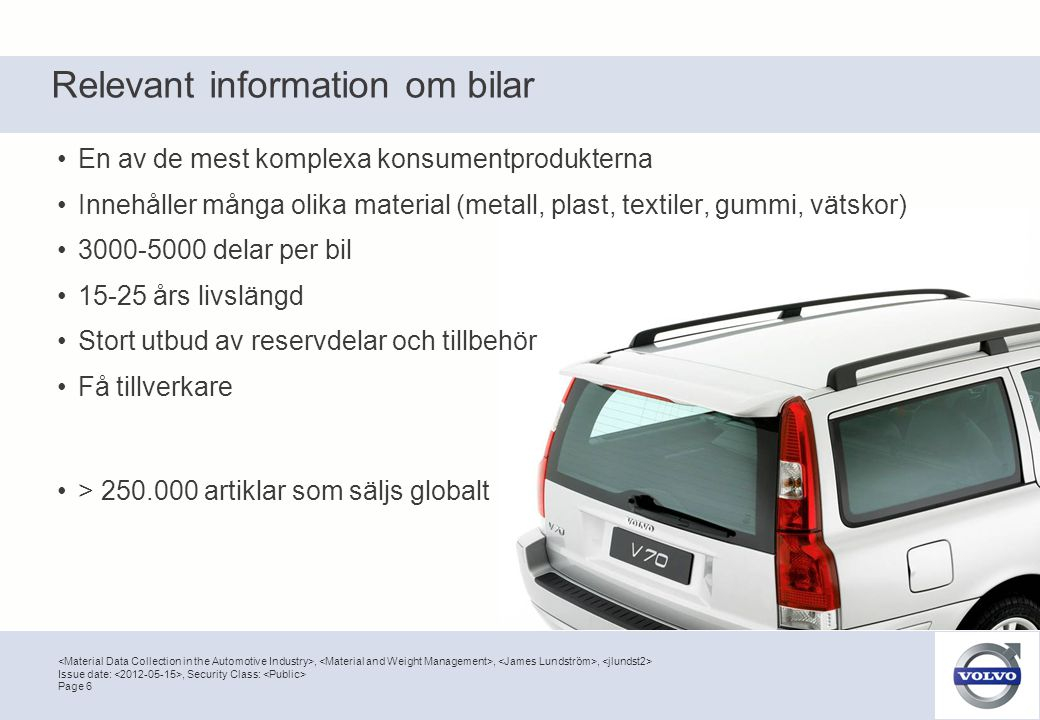 Relevant information om bilar