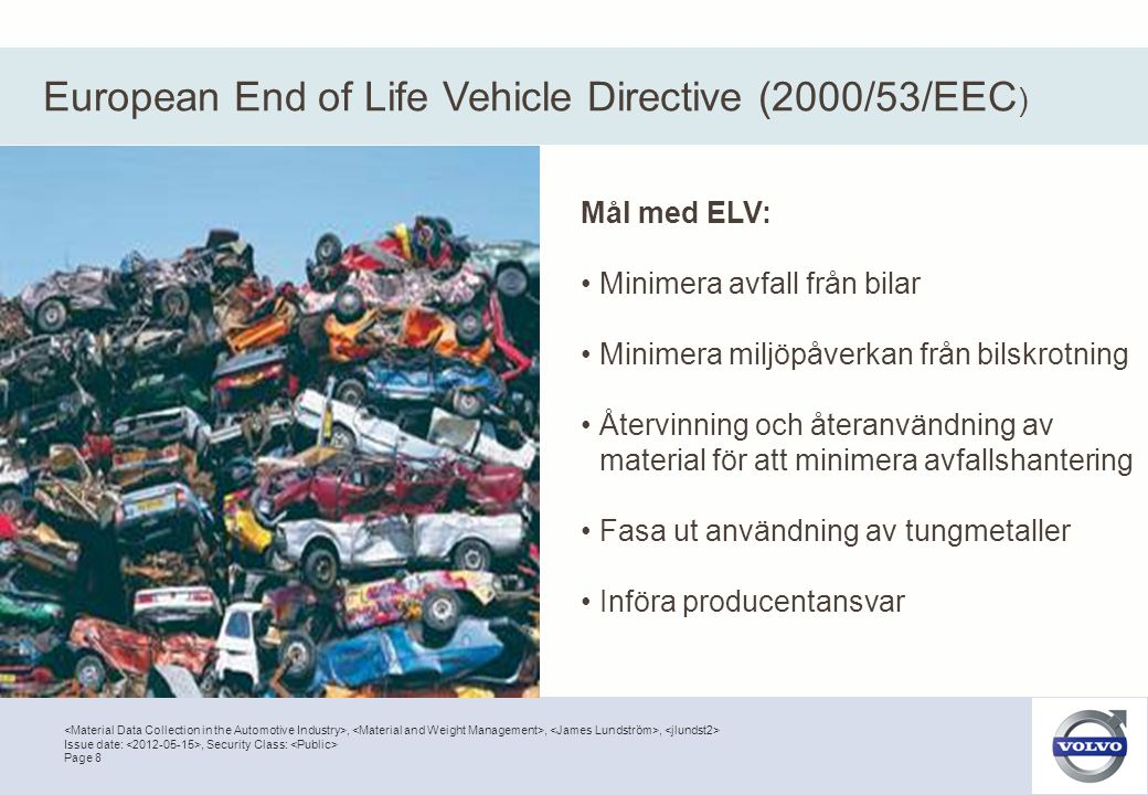 European End of Life Vehicle Directive (2000/53/EEC)