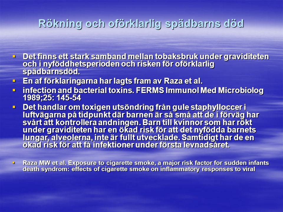 Rökning och oförklarlig spädbarns död