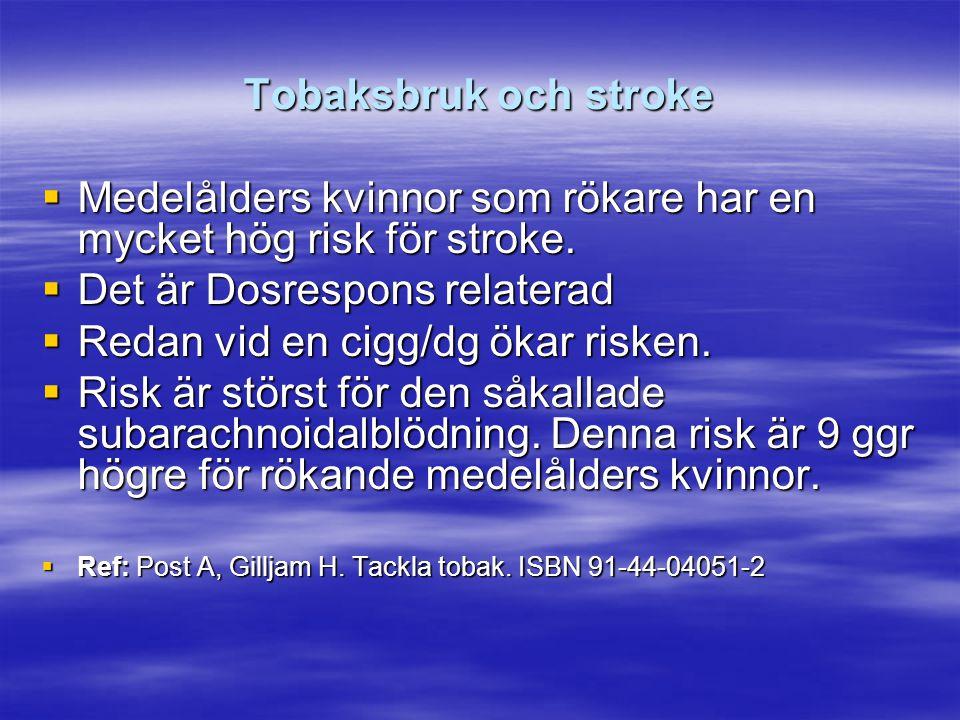 Medelålders kvinnor som rökare har en mycket hög risk för stroke.