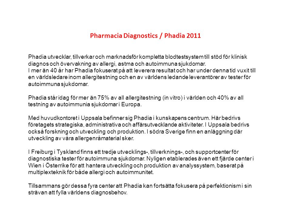 Pharmacia Diagnostics / Phadia 2011