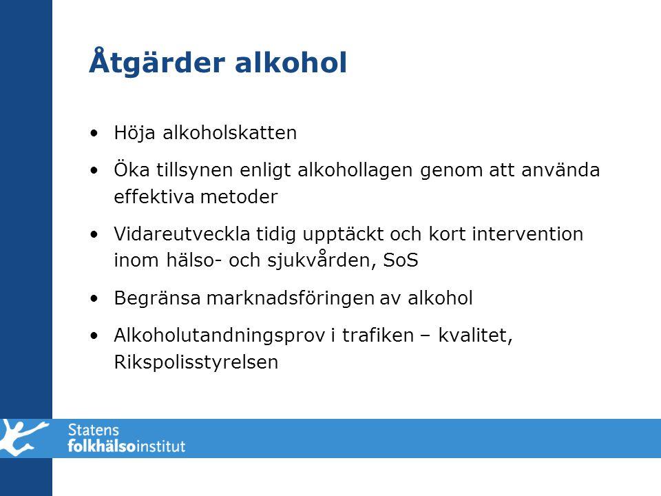 Åtgärder alkohol Höja alkoholskatten