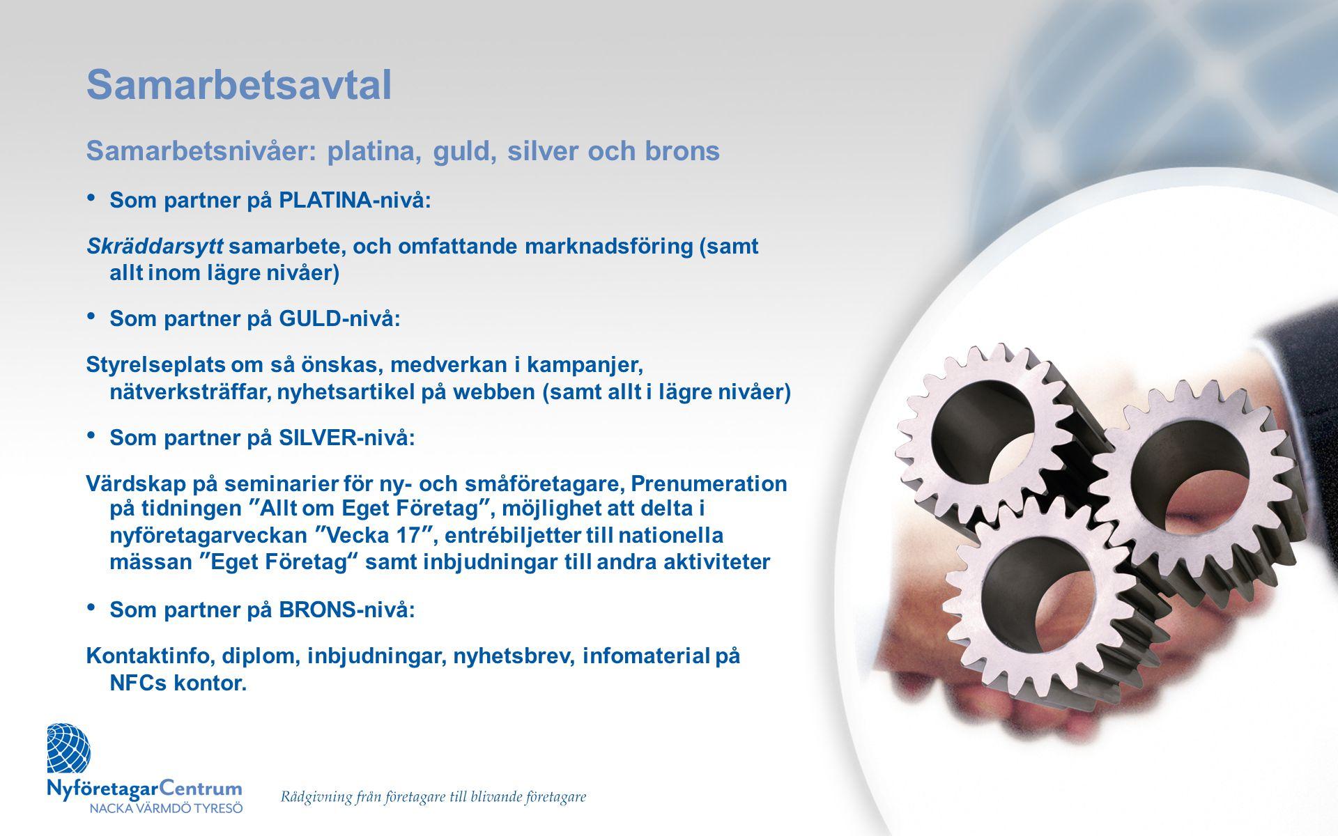 Samarbetsavtal Samarbetsnivåer: platina, guld, silver och brons