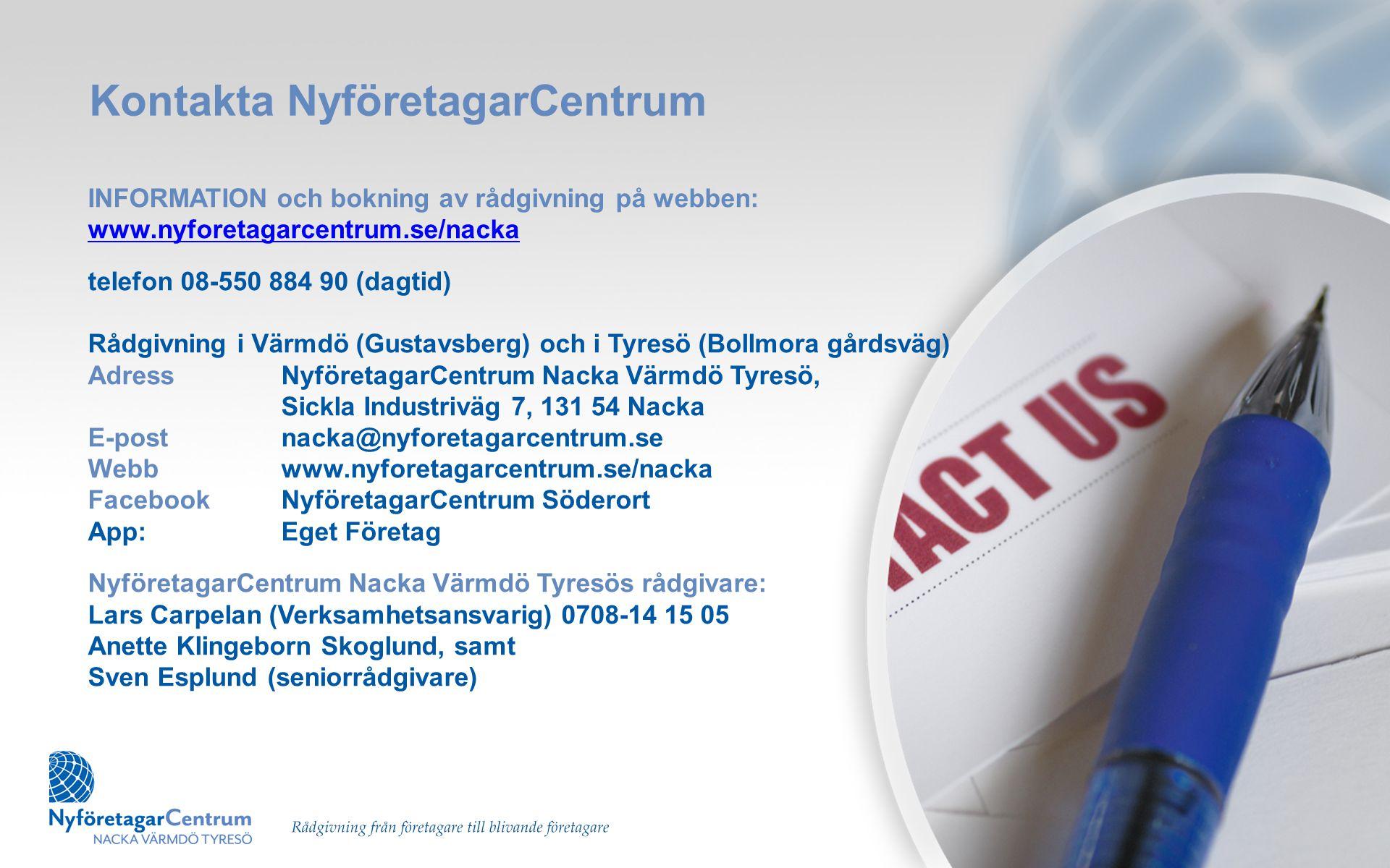 Kontakta NyföretagarCentrum