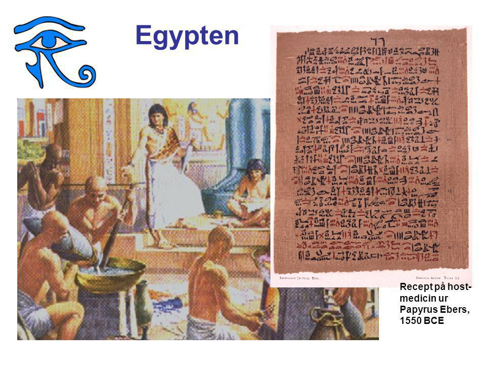 Egypten Recept på host-medicin ur Papyrus Ebers, 1550 BCE