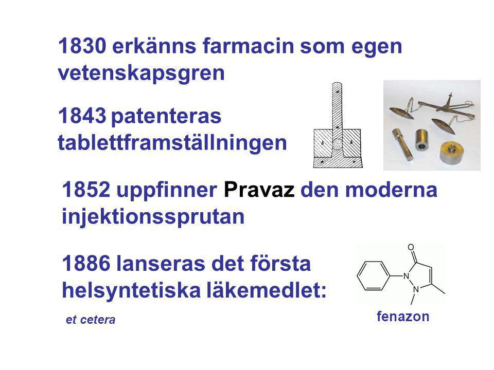 1830 erkänns farmacin som egen vetenskapsgren