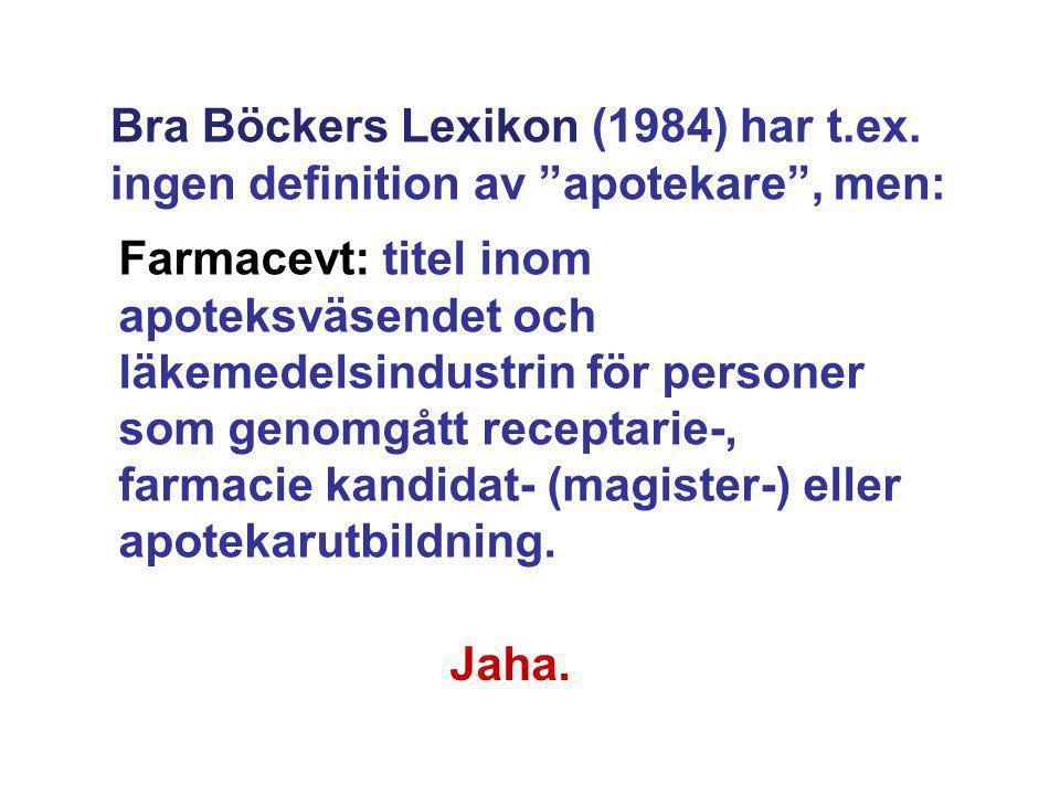 Bra Böckers Lexikon (1984) har t. ex
