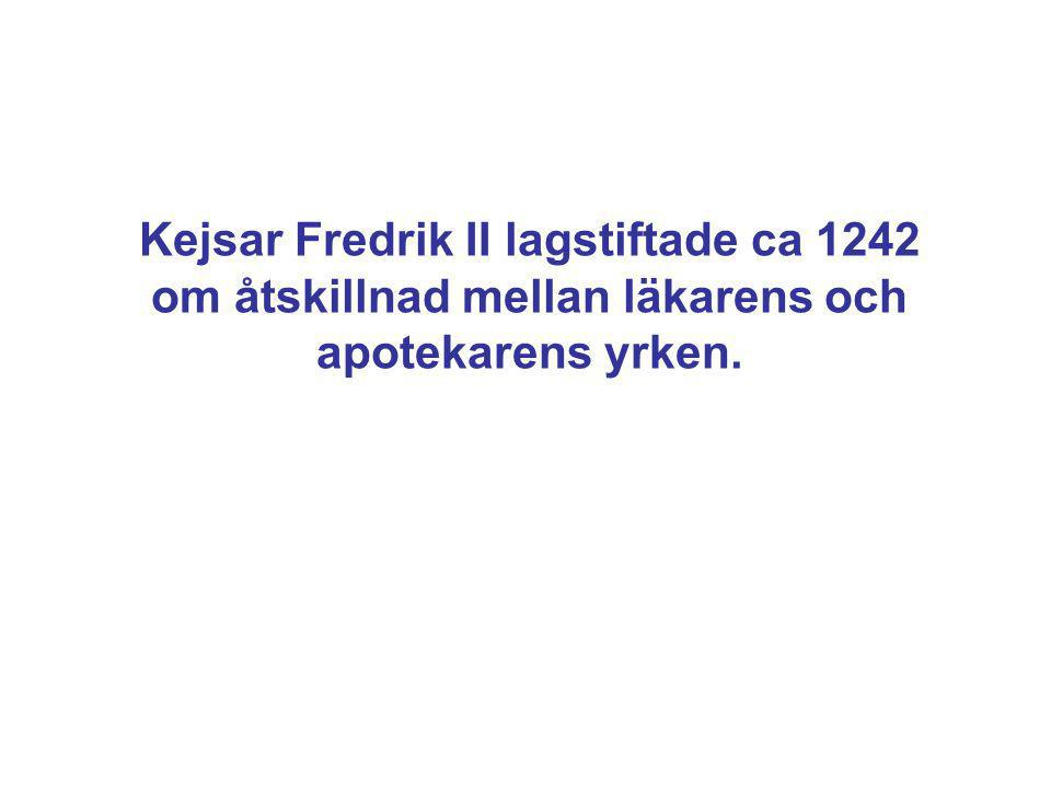 Kejsar Fredrik II lagstiftade ca 1242 om åtskillnad mellan läkarens och apotekarens yrken.
