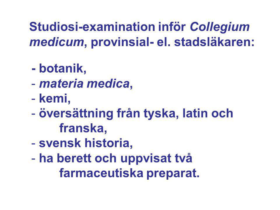 Studiosi-examination inför Collegium medicum, provinsial- el