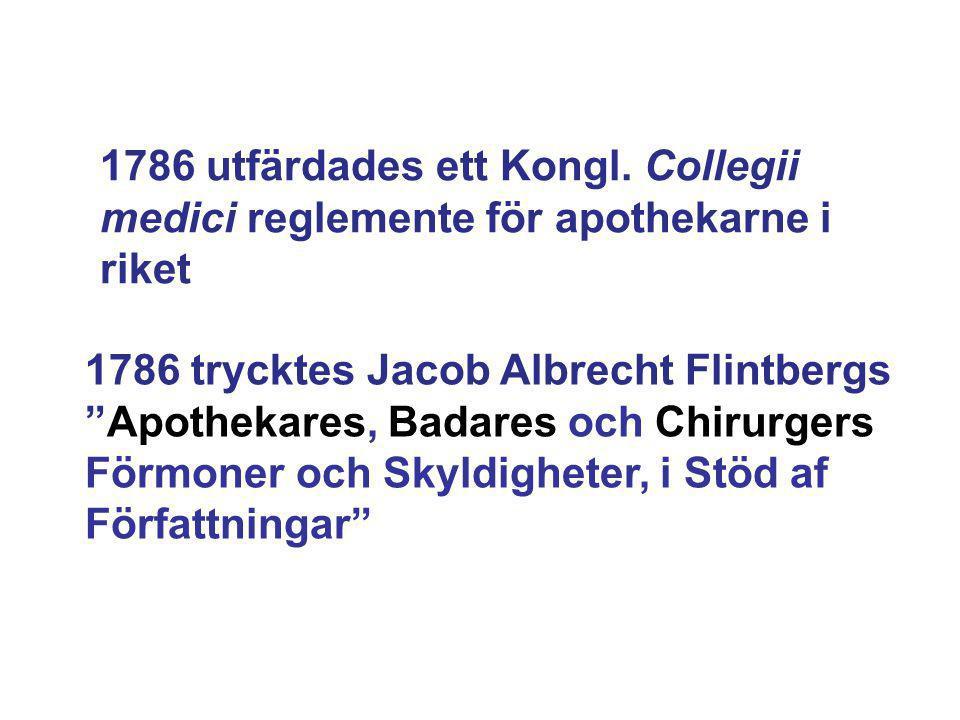 1786 utfärdades ett Kongl. Collegii medici reglemente för apothekarne i riket