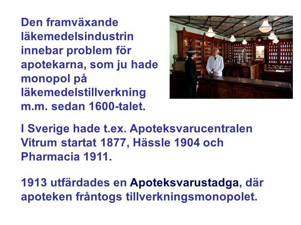Den framväxande läkemedelsindustrin innebar problem för apotekarna, som ju hade monopol på läkemedelstillverkning m.m. sedan 1600-talet.
