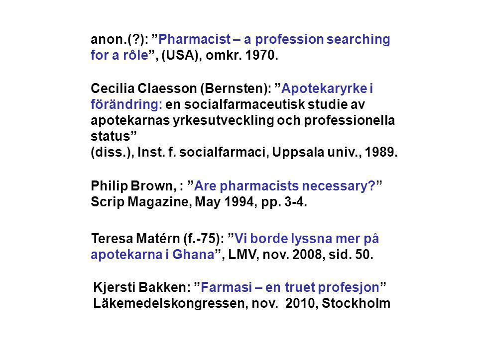 anon.( ): Pharmacist – a profession searching for a rôle , (USA), omkr. 1970.