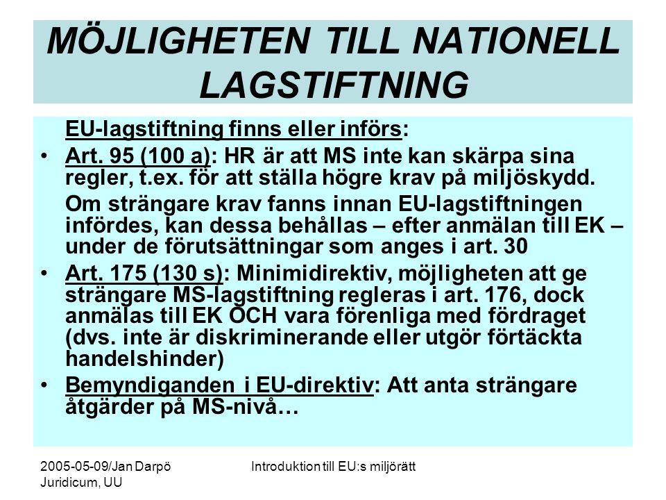 MÖJLIGHETEN TILL NATIONELL LAGSTIFTNING