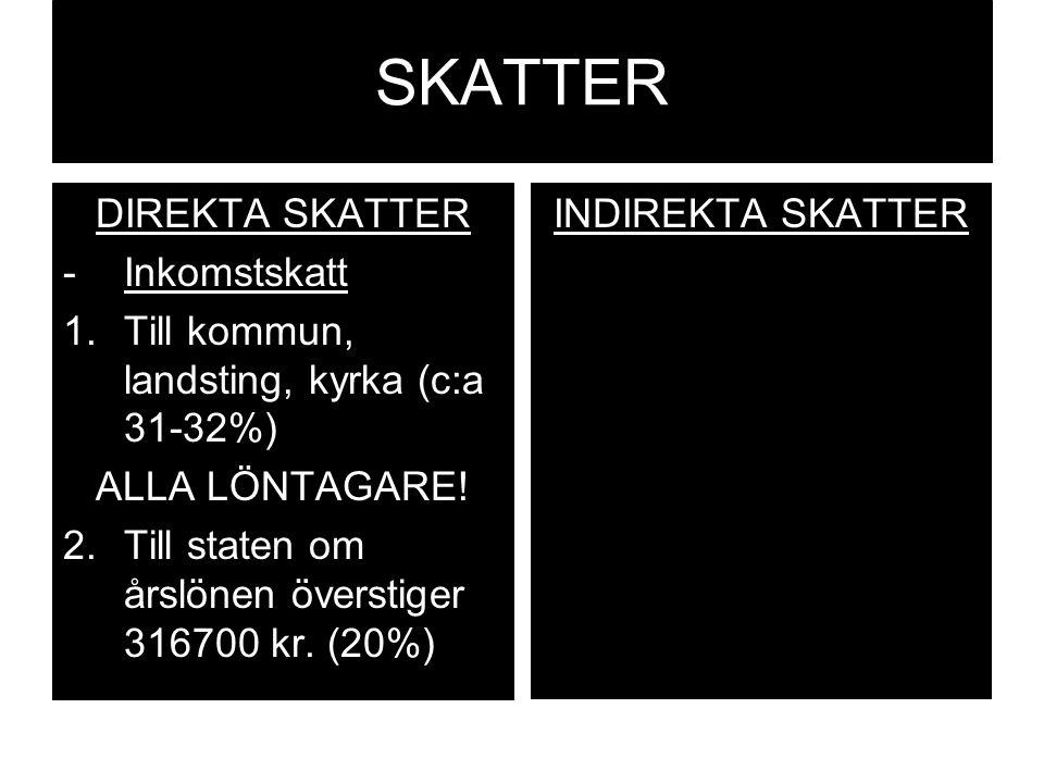 SKATTER DIREKTA SKATTER Inkomstskatt