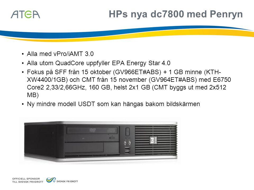 HPs nya dc7800 med Penryn Alla med vPro/iAMT 3.0