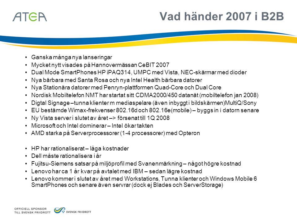 Vad händer 2007 i B2B Ganska många nya lanseringar