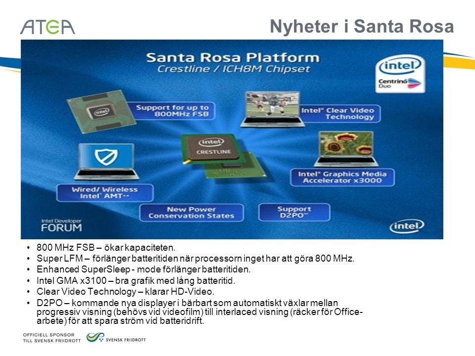 Nyheter i Santa Rosa 800 MHz FSB – ökar kapaciteten.