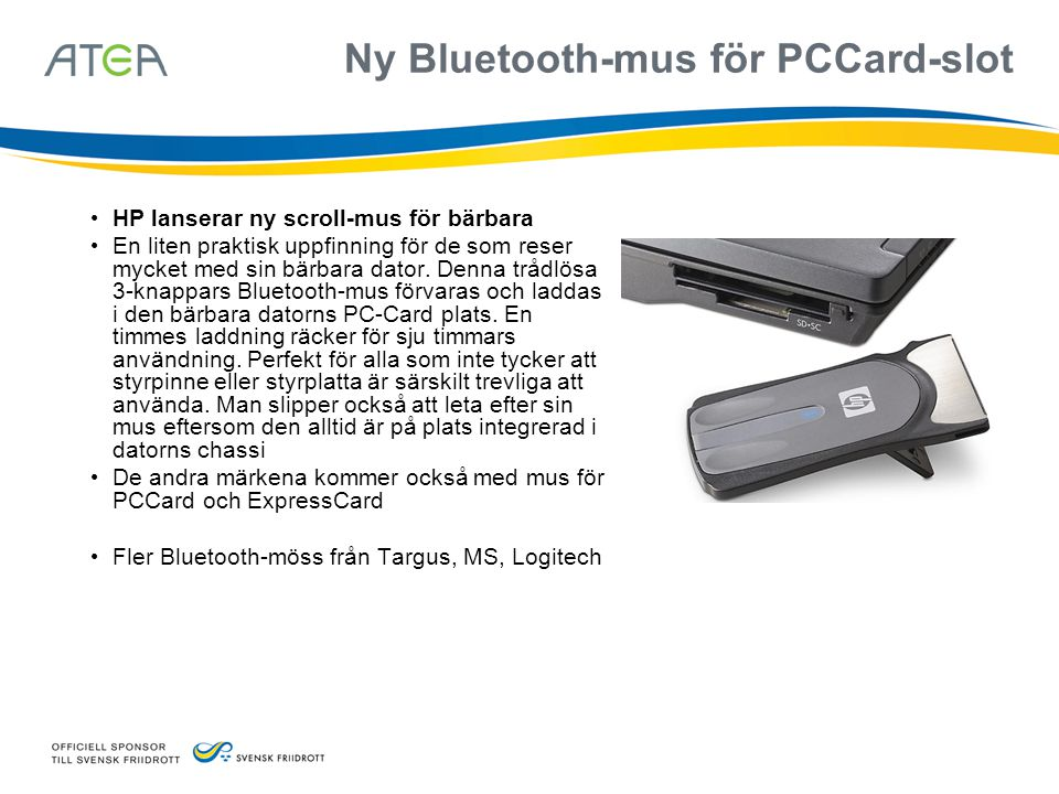 Ny Bluetooth-mus för PCCard-slot