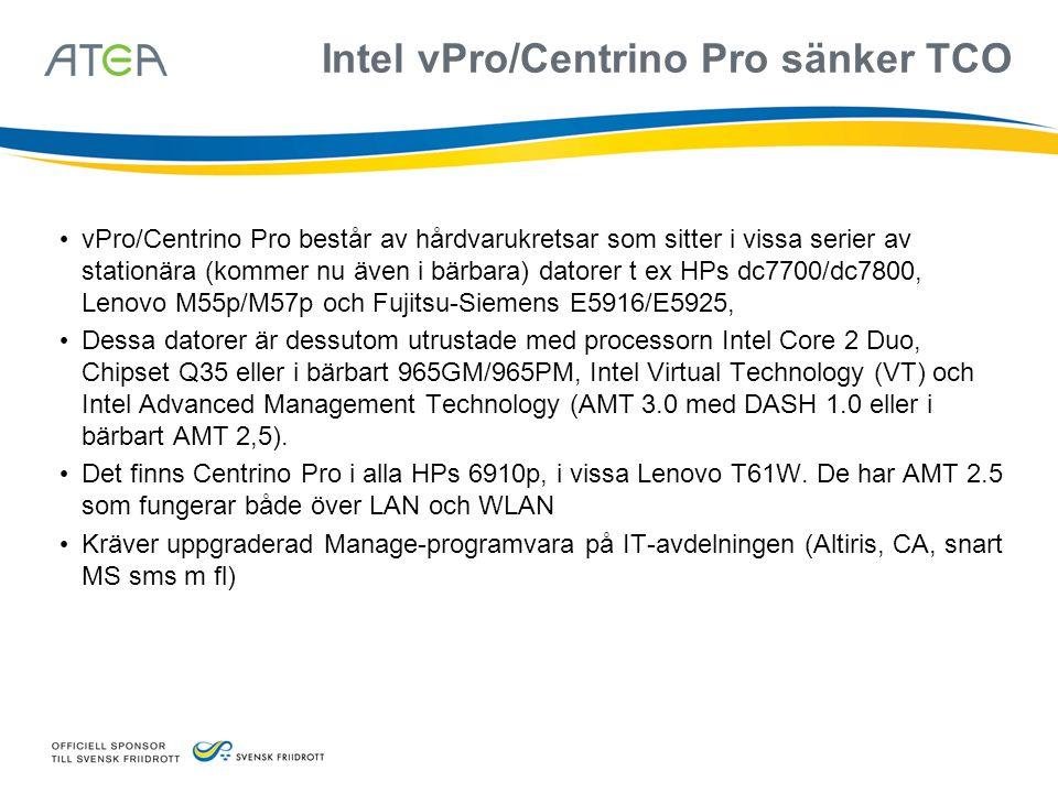 Intel vPro/Centrino Pro sänker TCO