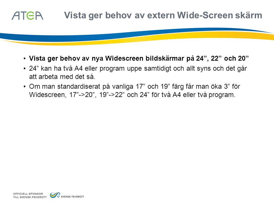 Vista ger behov av extern Wide-Screen skärm