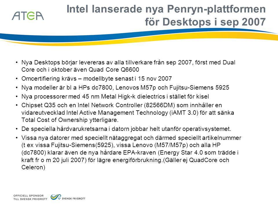 Intel lanserade nya Penryn-plattformen för Desktops i sep 2007