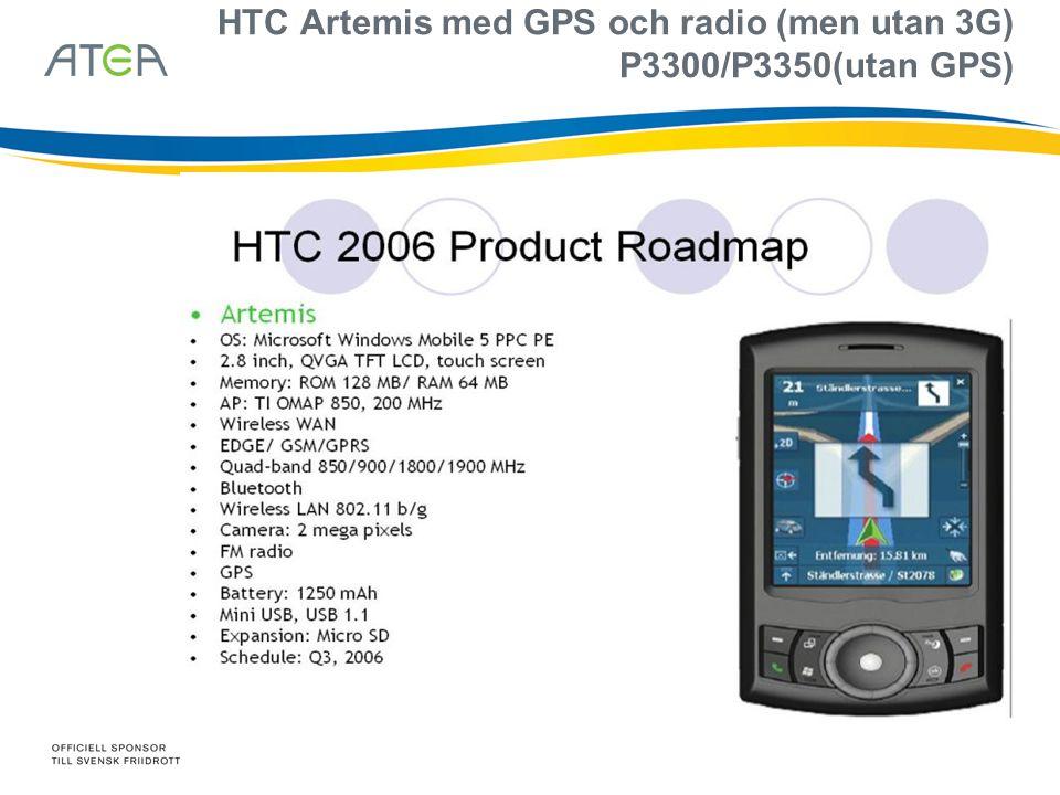 HTC Artemis med GPS och radio (men utan 3G) P3300/P3350(utan GPS)