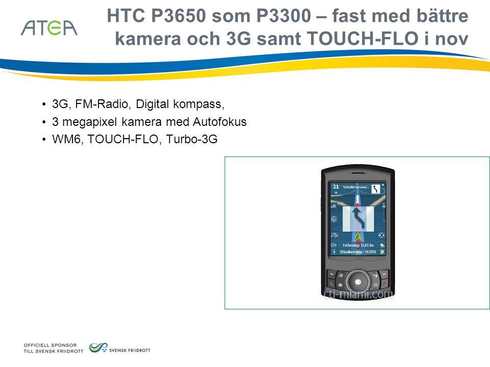 HTC P3650 som P3300 – fast med bättre kamera och 3G samt TOUCH-FLO i nov
