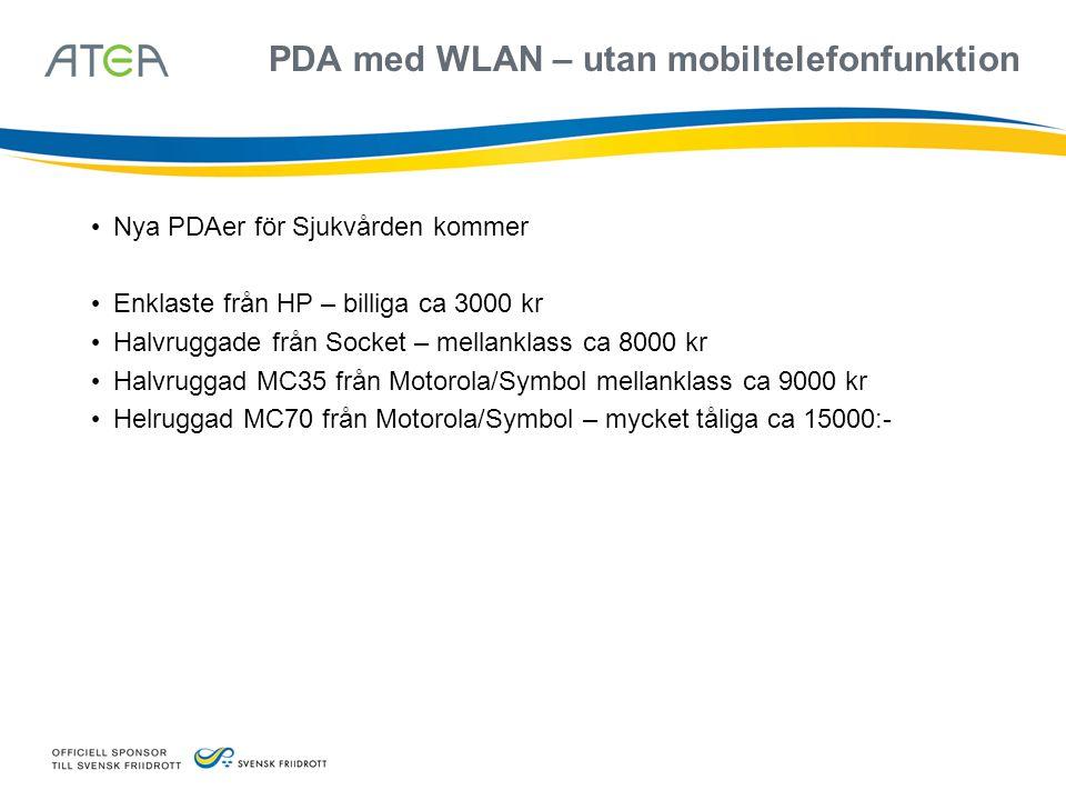 PDA med WLAN – utan mobiltelefonfunktion