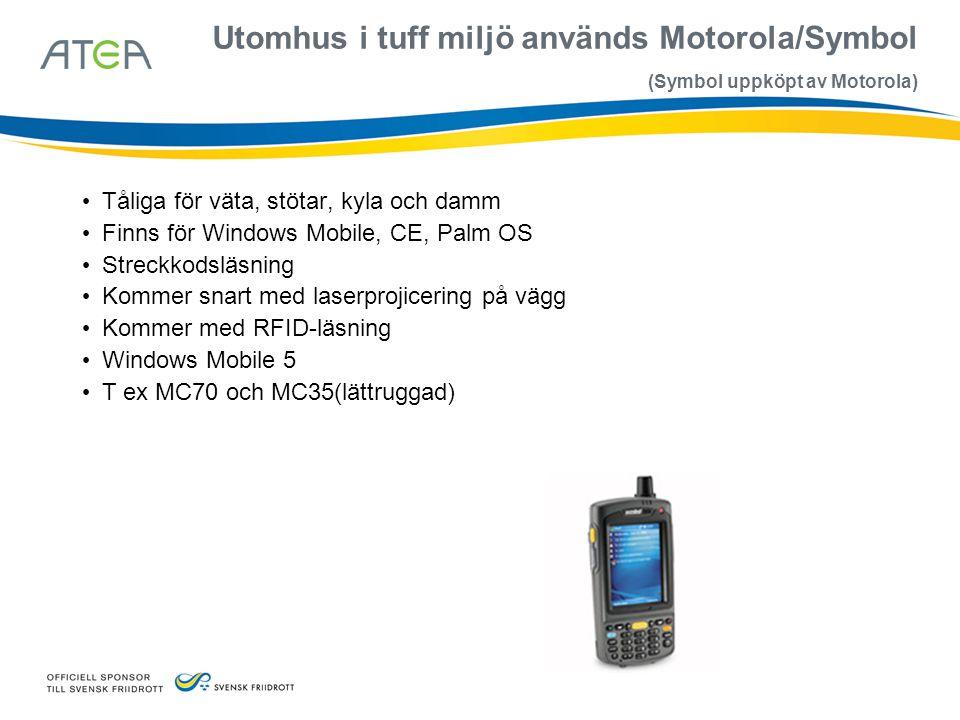 Utomhus i tuff miljö används Motorola/Symbol (Symbol uppköpt av Motorola)