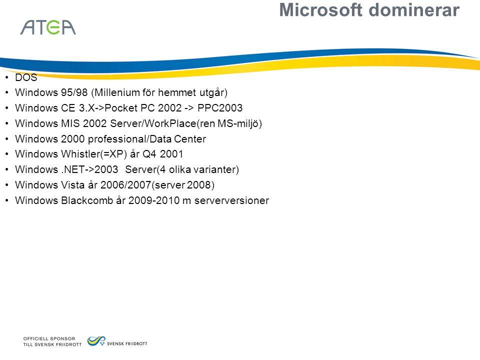 Microsoft dominerar DOS Windows 95/98 (Millenium för hemmet utgår)
