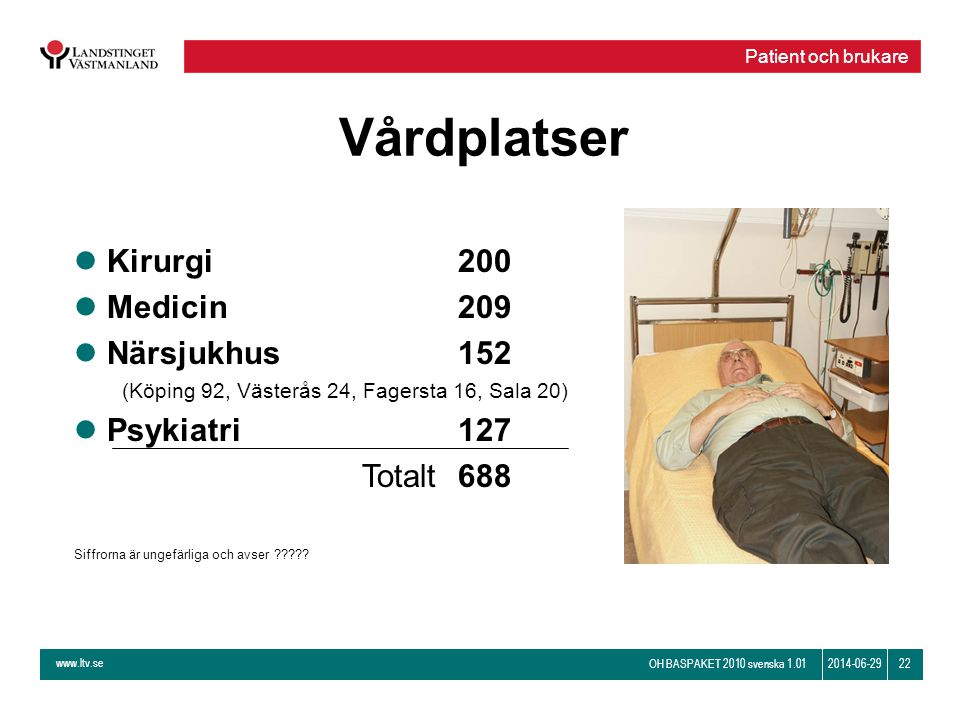 Vårdplatser Kirurgi 200 Medicin 209 Närsjukhus 152 Psykiatri 127