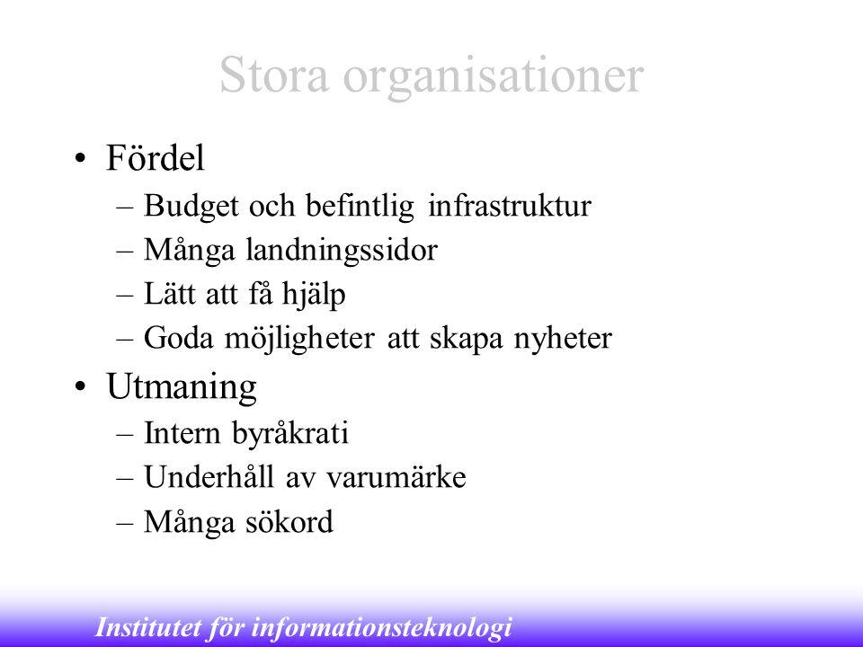 Stora organisationer Fördel Utmaning