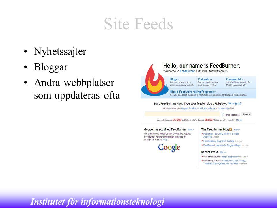 Site Feeds Nyhetssajter Bloggar Andra webbplatser som uppdateras ofta
