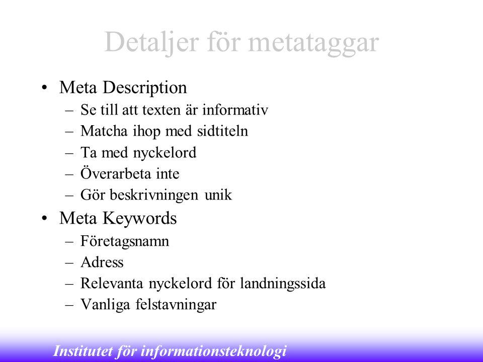 Detaljer för metataggar