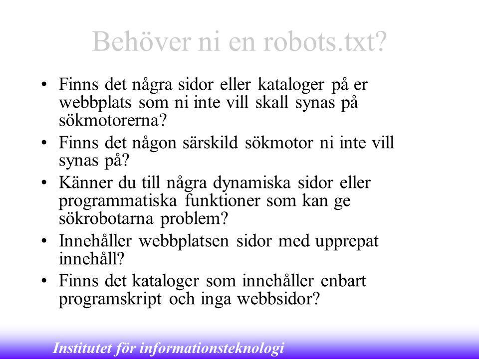 Behöver ni en robots.txt
