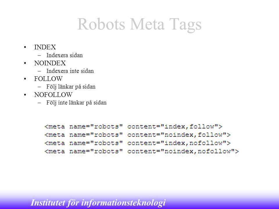 Robots Meta Tags INDEX NOINDEX FOLLOW NOFOLLOW Indexera sidan