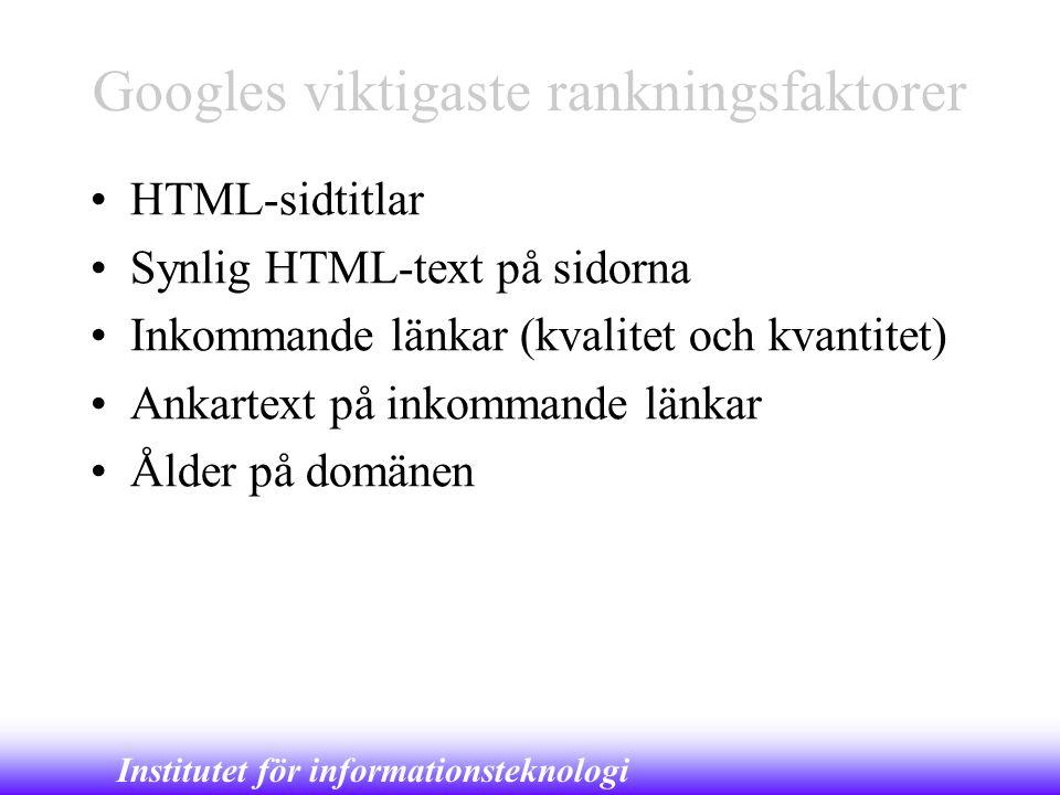 Googles viktigaste rankningsfaktorer
