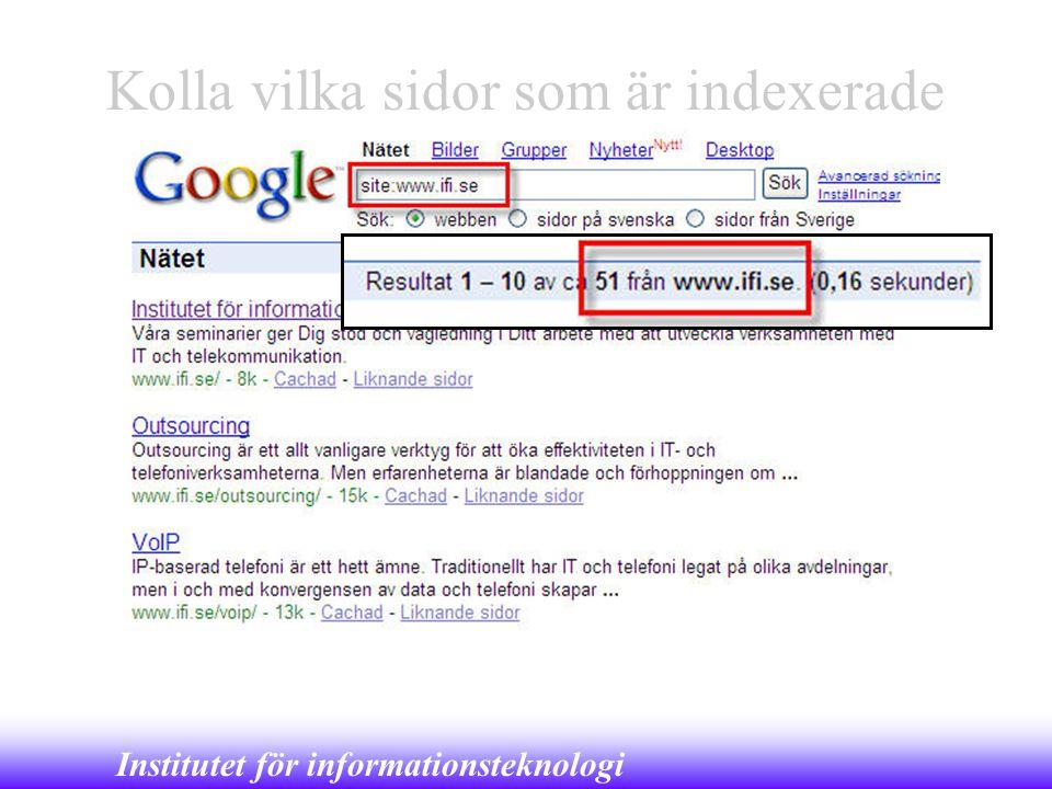 Kolla vilka sidor som är indexerade