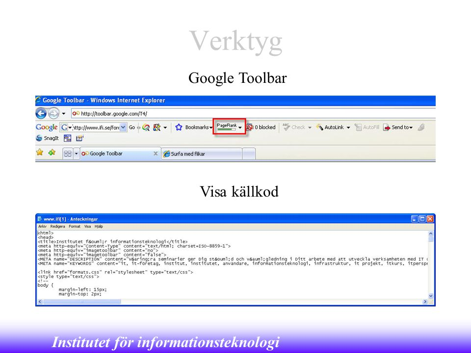 Verktyg Google Toolbar Visa källkod