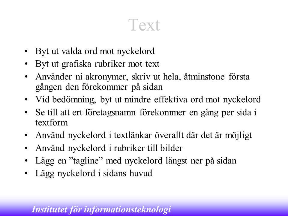Text Byt ut valda ord mot nyckelord Byt ut grafiska rubriker mot text